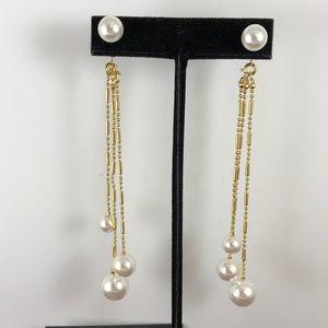 Faux Dangling Pearl Gold Beaded Chain Earrings